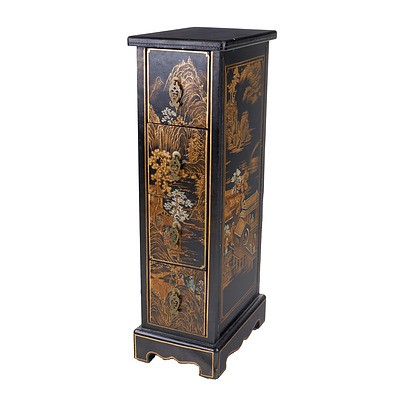 Chinese Black Painted Pedestal Drawers with Stencilled Decoration, Modern