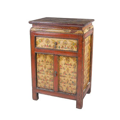 Chinese Polychrome Lacquered and Painted Pine Small Cabinet with Flowers, Late 20th Century