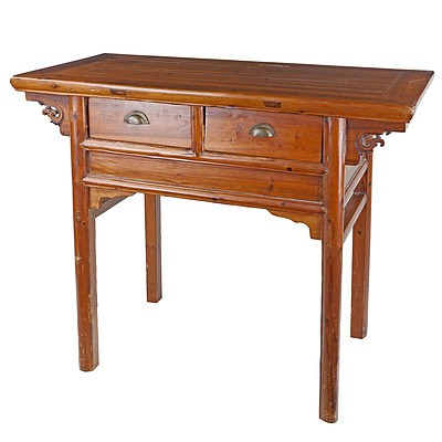 Chinese Pine Two Drawer Altar Table, Late 20th Century