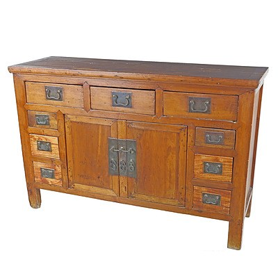 Chinese Pine and Elm Altar Cabinet, Late 20th Century