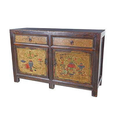 Chinese Lacquered and Polychrome Painted Sideboard Cabinet, Late 20th Century