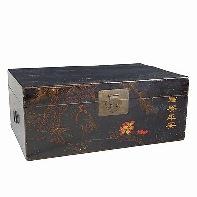 Chinese Black and Polychrome Lacquered Trunk Decorated with Egret and Pine, Modern
