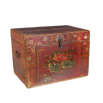 Chinese Polychrome Painted Pine Storage Box with Floral Motif, Modern