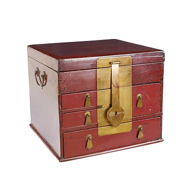 Chinese Red Lacquer Storage Box with Brass Latch, Modern