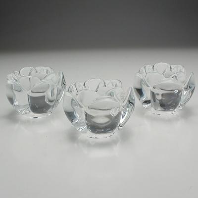 Three Royal Copenhagen Crystal Lotus Candleholders