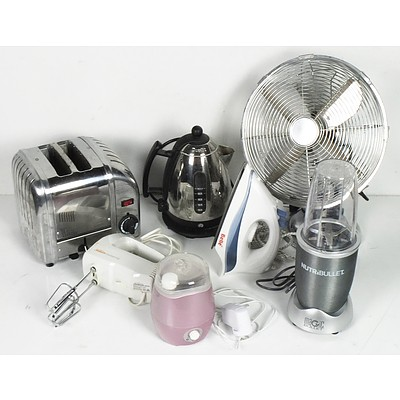 Bulk Lot of Electrical Household Appliances Including NutriBullet Magic Bullet