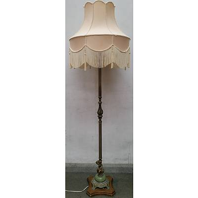 Ornate Vintage Cast Metal and Onyx Mounted Floor Lamp