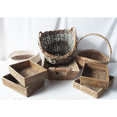 Eight Woven Cane and Rattan Baskets and Trays