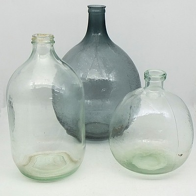 Three Large Glass Vases