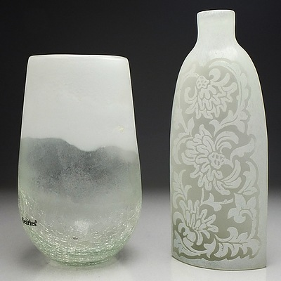Lot of Four Assorted Frosted Glass Art Vases