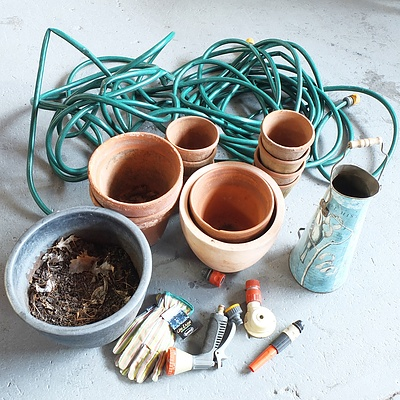 Mixed Lot of Gardening Ornaments and Hose with Accessories
