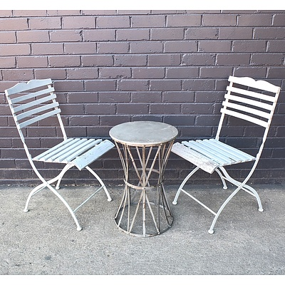 Outdoor Two Seater Metal Garden Setting and Light Up Garden Feature