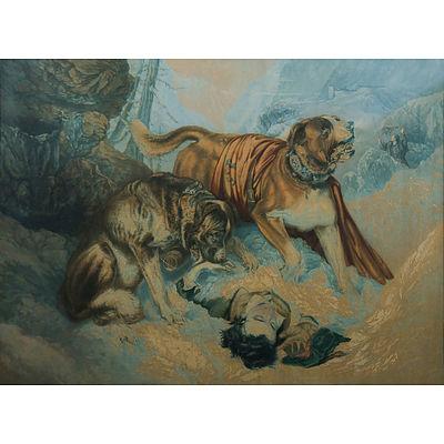 Baxter Print 'The Dogs of St Bernard.' After Sir Edwin LANDSEER