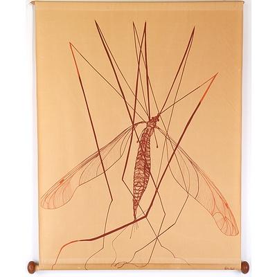 Rita Hall (1947-) Mosquitos Printed Fabric Wall Hang