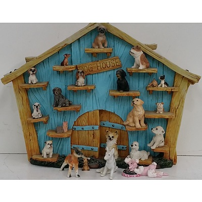 Dog House Ornament With 21 Dog Figurines
