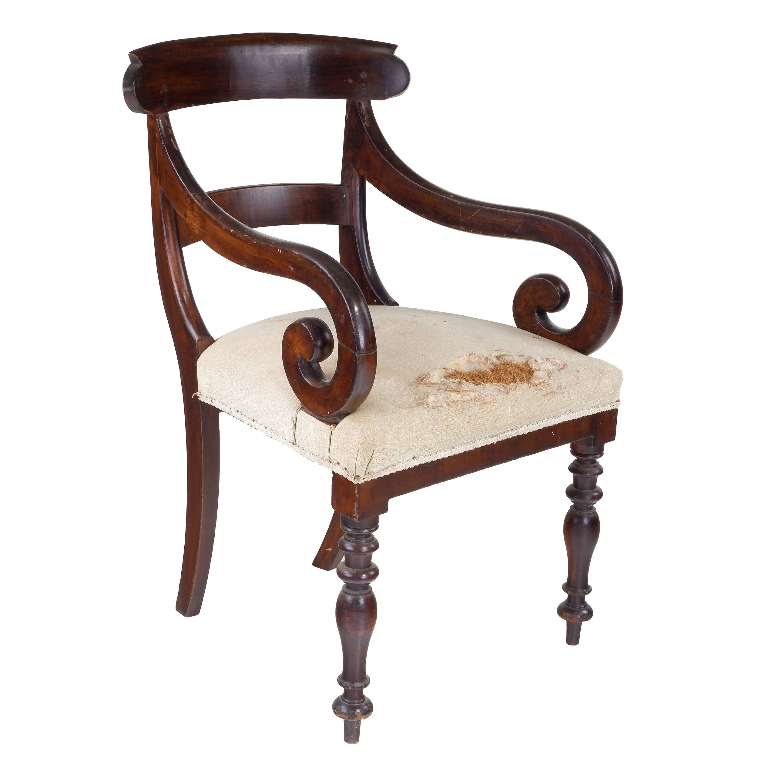 'Australian Cedar Scrolled Arm Barback Carver Chair ex Gidleigh via Bungendore NSW'