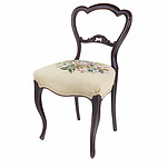 Victorian Walnut Side Chair with Balloon Back and Floral Motif Tapestry Upholstery, Late 19th Century