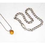 Silver Chain with a Amber Bead Drop and a Silver Curb Link Bracelet