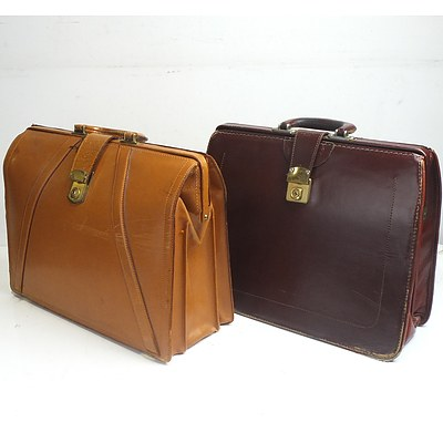 Two Vintage Leather Briefcases
