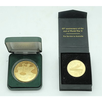 Official Australian Bicentennial Commemorative Medallion and 60th Anniversary Of The End of World War II Coin