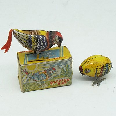 Prestyn Toys Tinplate Pecking Bird with Original Box and a Chinese Tinplate Pecking Bird
