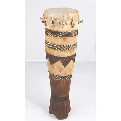 African Carved and Painted Drum with Hide Top