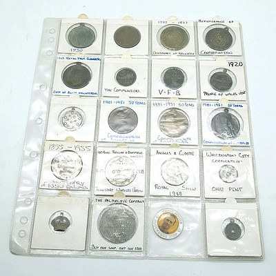 Twenty Coins and Tokens Including 50 Years Commonwealth of Australia, Royal Show 1948, and More