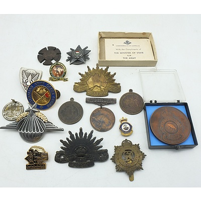 A Group of Australian and International Medals and International Badges, Including a George V and VI Coronation Medal and a Royal Australian Air Force Medallion