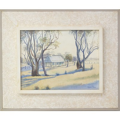 Sylvia Fitton Frosty Morn at Ross Cottage Cooma Watercolour