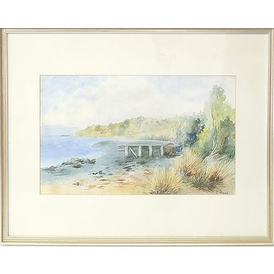 E.A Higgs Jetty by the Ocean Watercolour