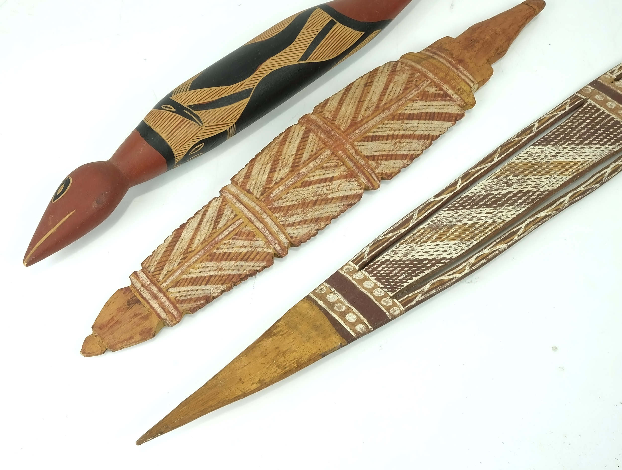 Three Hand Painted Aboriginal Carvings Lot 1046215 Allbids