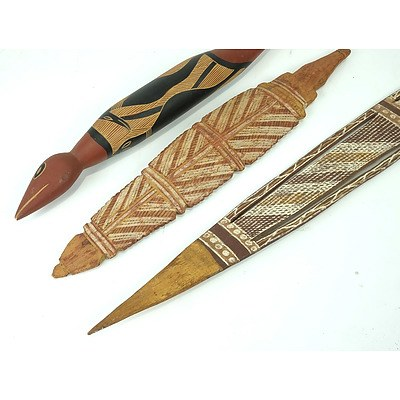 Three Hand Painted Aboriginal Carvings, Arnhem Land Circa 1970