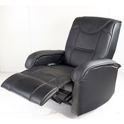 Black Faux Leather Massage Reclining Armchair