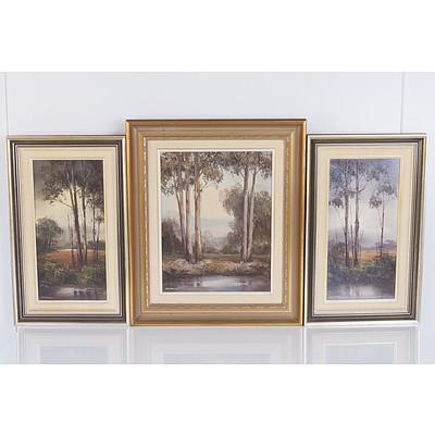 Wim Kortland (Holand 1923 - ) Near Heales Ville Victoria Triptych 1985, 1988, 1989 Oil on Board