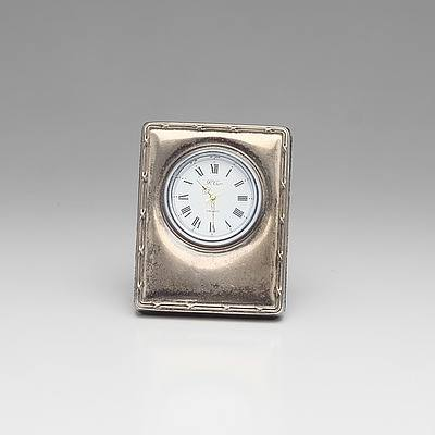Sterling Silver Cased Traveling Clock R Carr Sheffield 2000