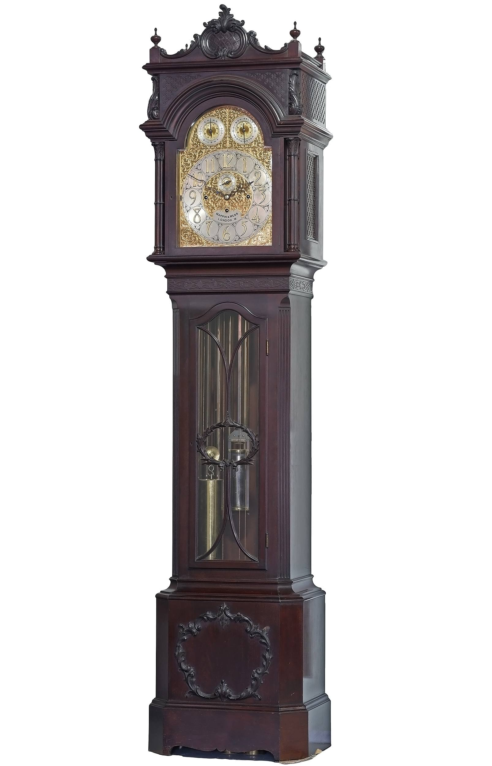 'Exceptional Large Edwardian Mappin and Webb Musical Three Train Mahogany Longcase Clock Early 20th Century'