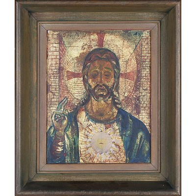 Artist Unknown Image of Christ Oil on Board