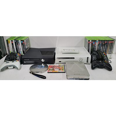 XBox, XBox 360 and XBox 360S Games Systems With Controllers and Games