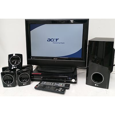 """Acer 19"""" LCD Television, LG DVD Player with LG Surround Sound Speakers"""