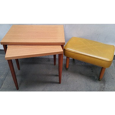 Vintage Nest of Two Tables and Footrest