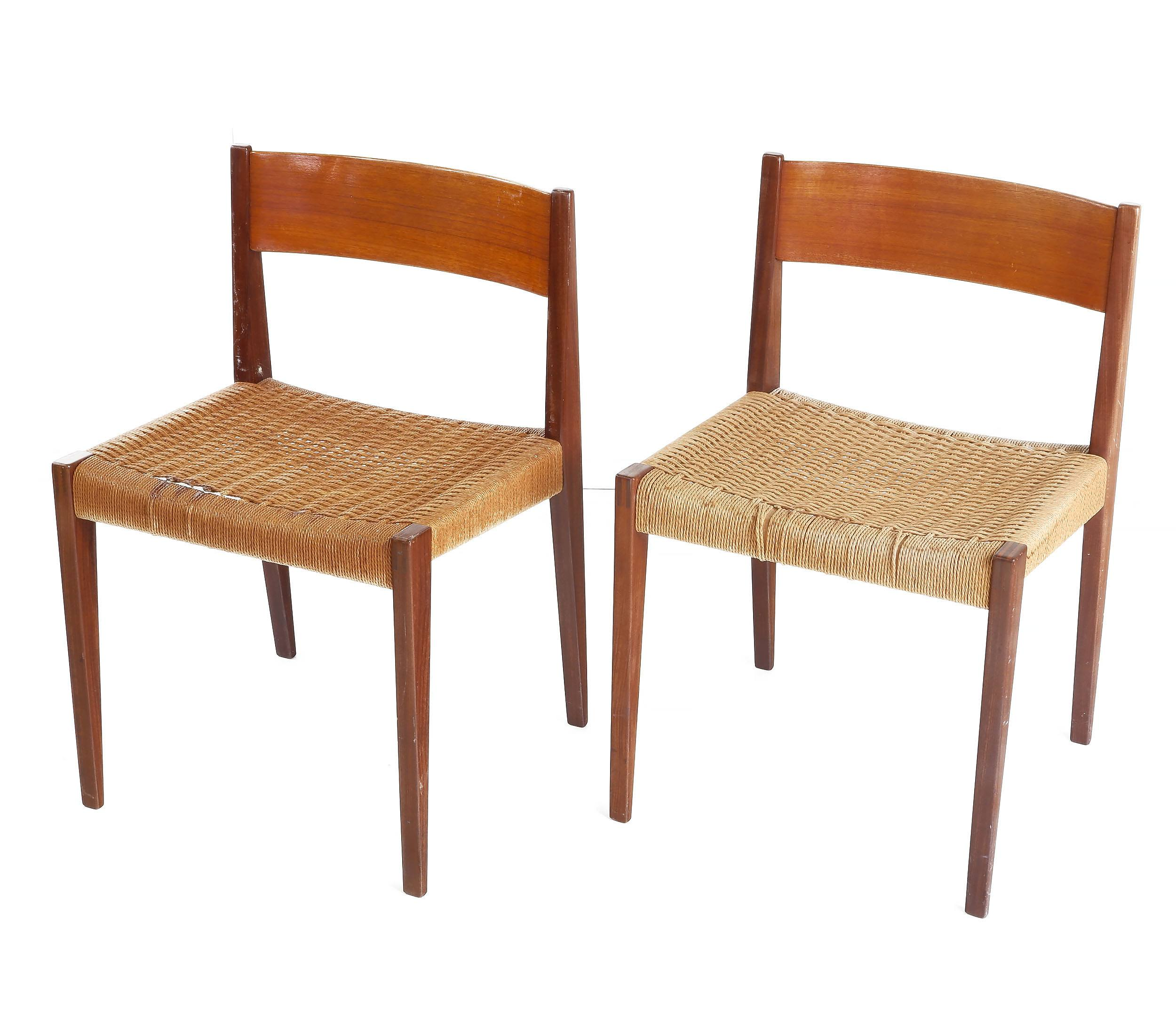 'Pair of Danish Teak and Woven Sea Grass Side Chairs'