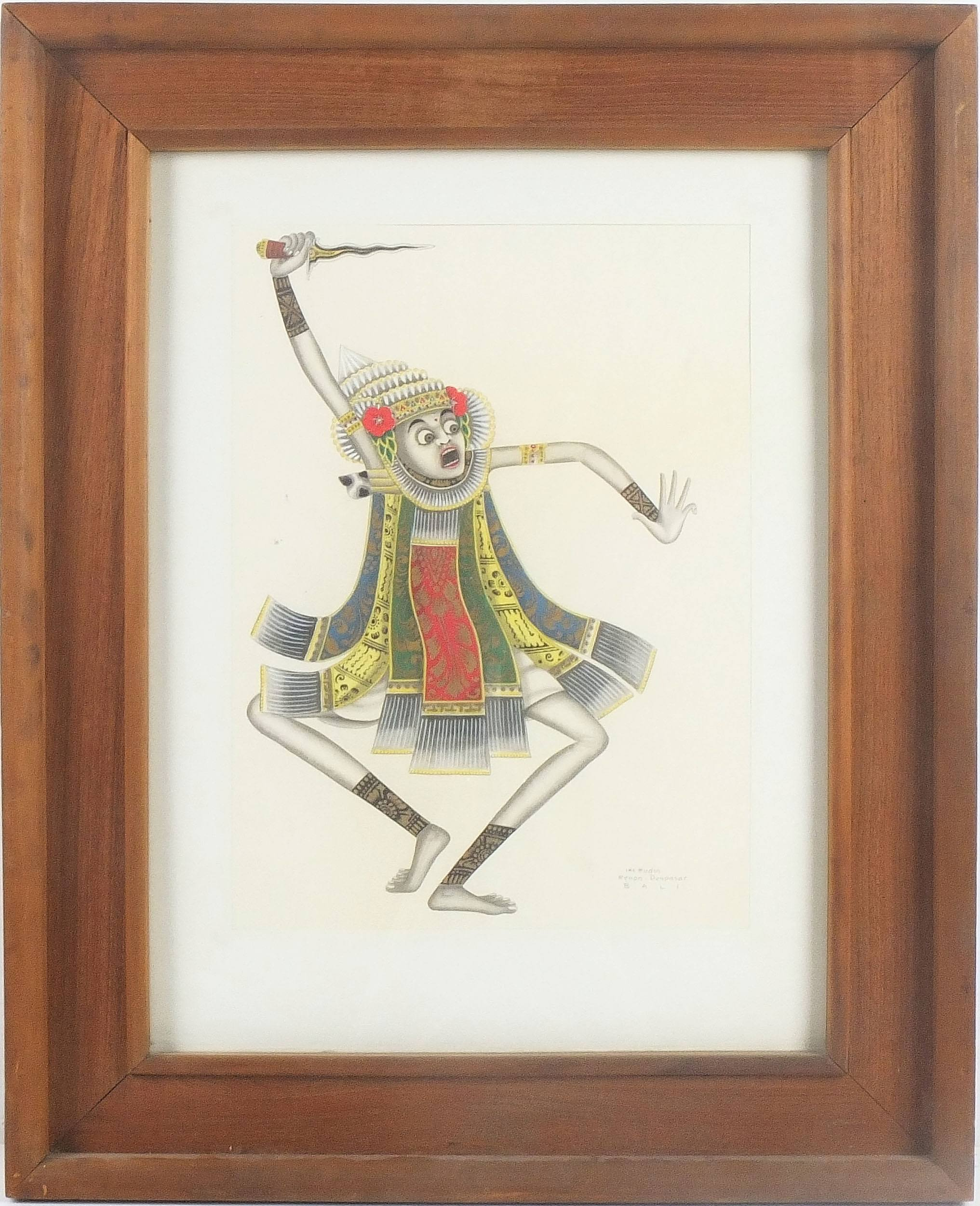 'I Ketut Rudin (Indonesian 1918-) Balinese Dancer, Watercolour'