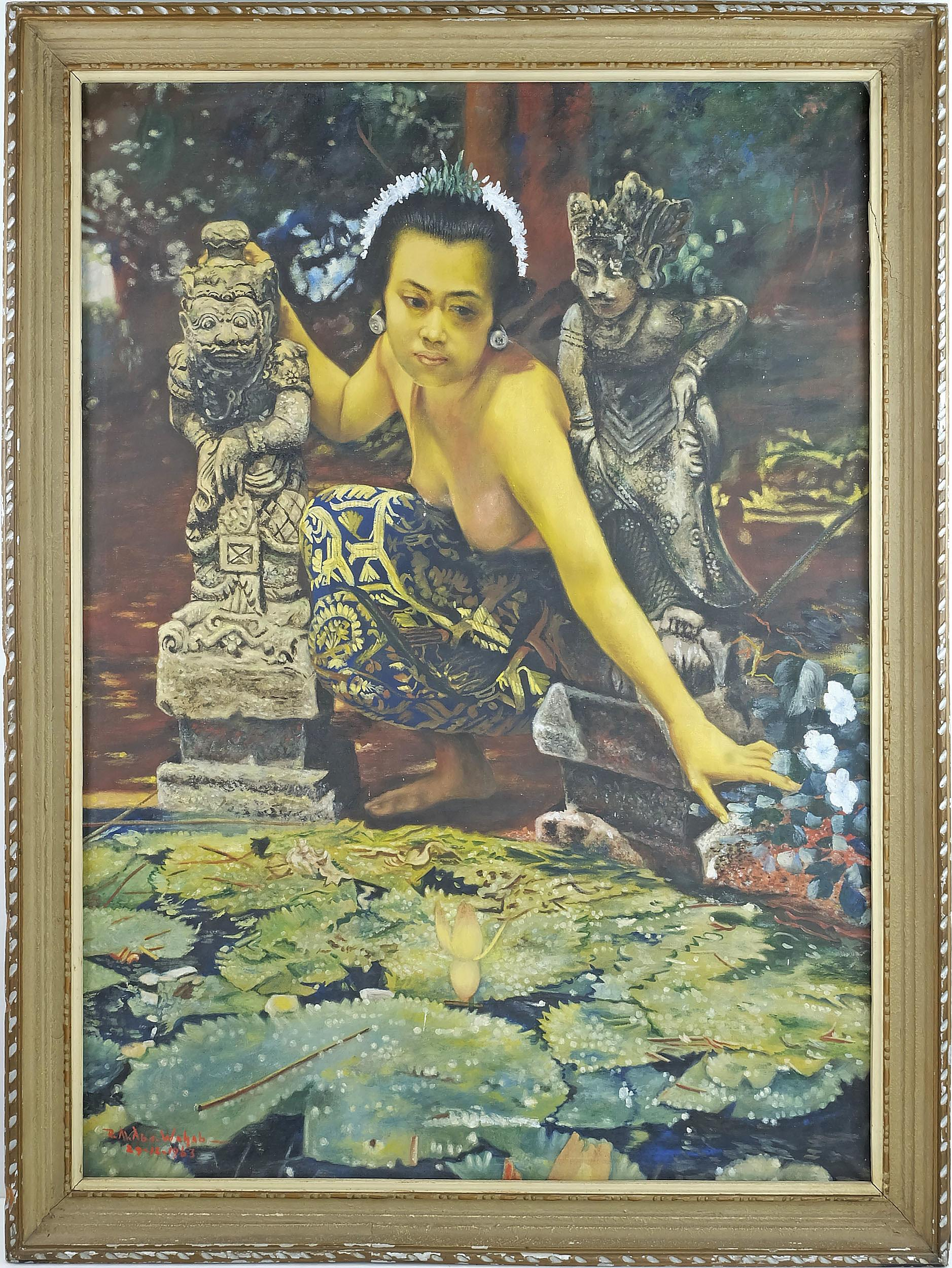 'Balinese School, Beauty and Lotus Pond, Oil On Canvas'