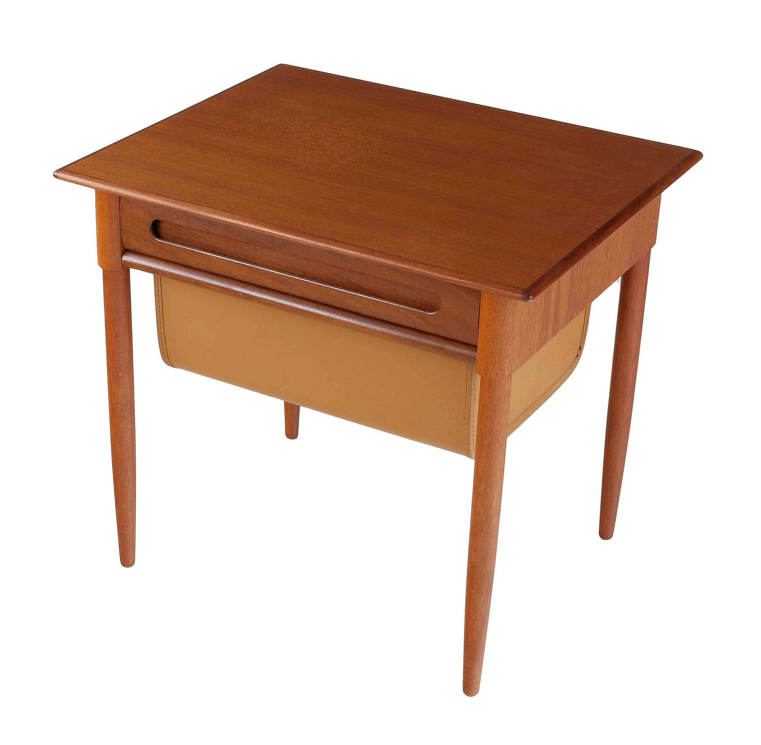 'Danish Teak Bedside Table with Leather Upholstered Drawer'