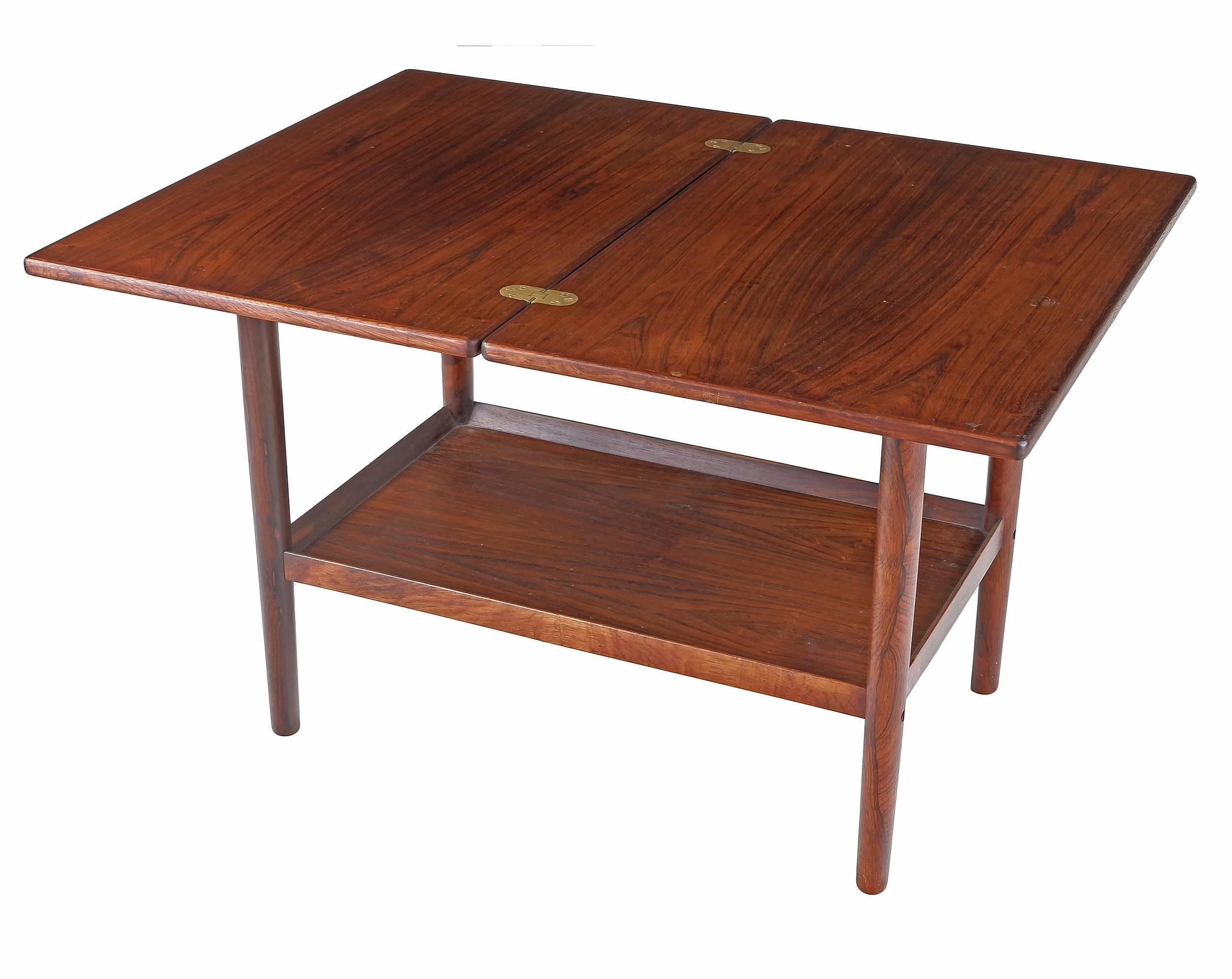 'Teak and Rosewood Folding Coffee Table Designed By Grete Jalk For Poul Jeppesen Denmark'