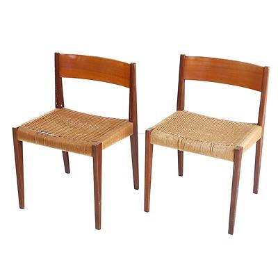 Pair of Danish Teak and Woven Sea Grass Side Chairs