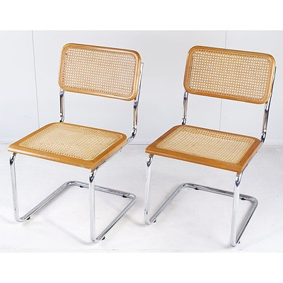 Pair of Marcel Breuer Chromed Tubular Steel and Woven Rattan Cantilever Chairs