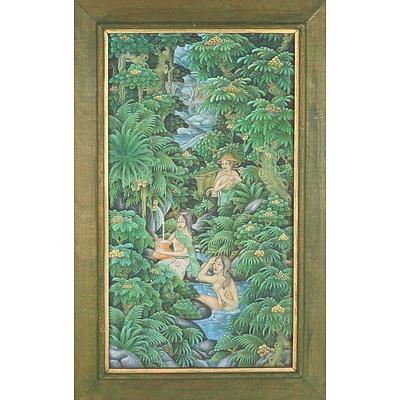 Framed Vintage Balinese Painting, Tempera on Linen Board