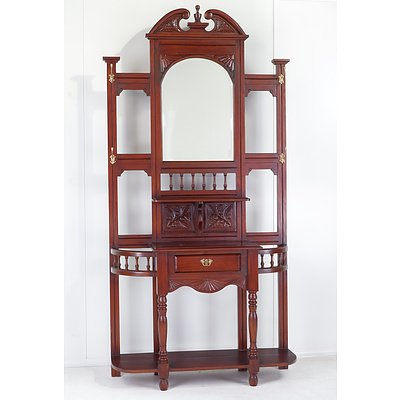 Stained Hardwood Mirror Backed Hall Stand