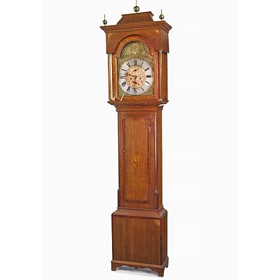 George III Inlaid Oak Hourly Striking Longcase Clock with Subsidiary Minute and Date Dials, Hepton of Northallerton (North Allerton) Early 19th Century